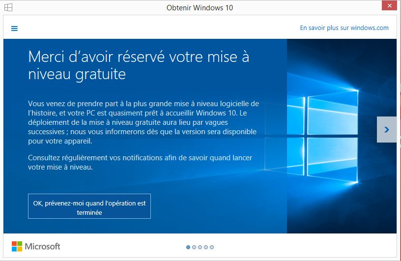 Réservation Windows 10