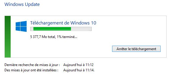 Windows Update télécharge l'installation de Windows 10